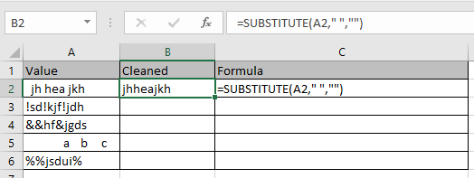 Remove unwanted characters in Excel