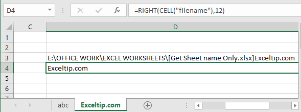 Get Sheet name only