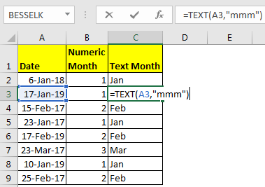 How to Get Month From Date in Excel