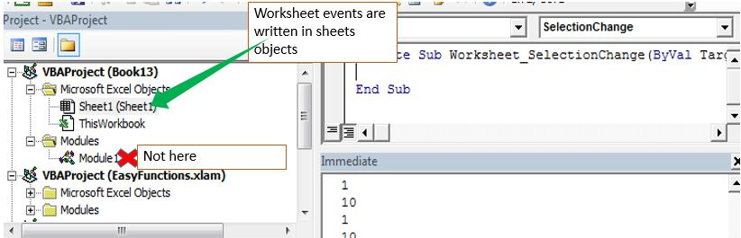 The Worksheet Events in Excel VBA