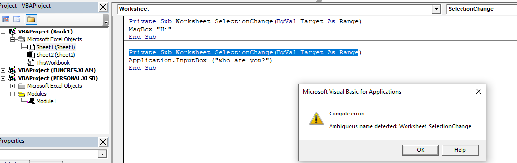 How To Solve Ambiguous Name Detected Vba Error